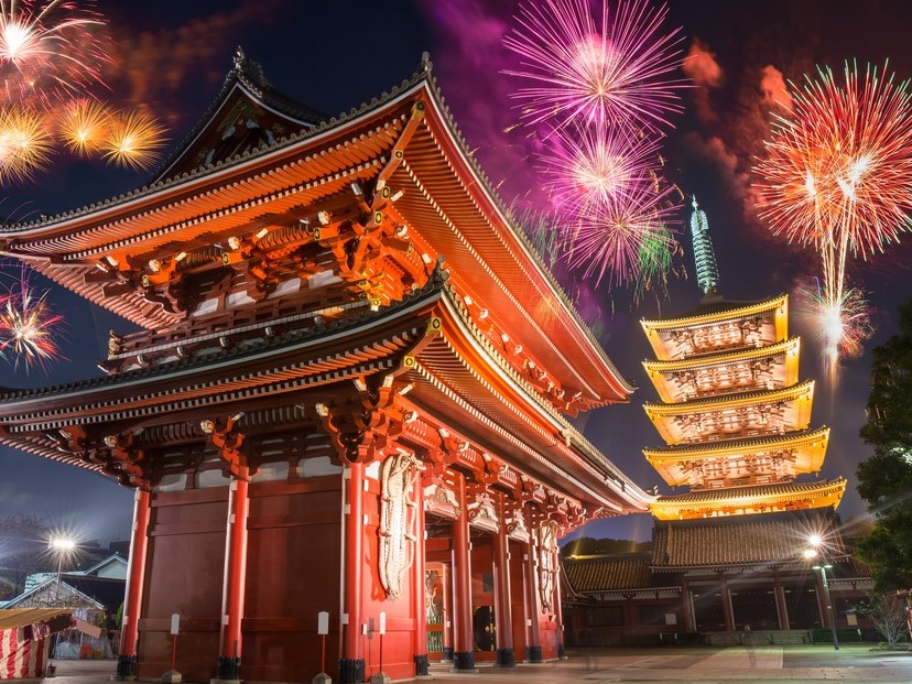 浅草寺と花火